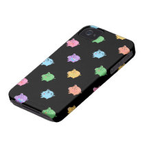 Rainbow Pig Pattern on black iPhone 4 Case