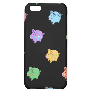 Rainbow Pig Pattern on black iPhone 5C Cover