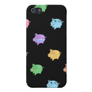 Rainbow Pig Pattern on black iPhone 5 Covers