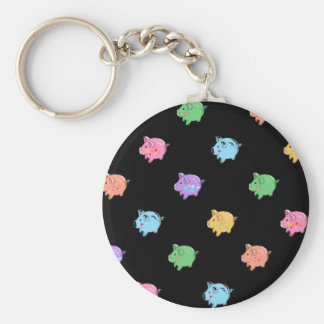 Rainbow Pig Pattern on black Keychain