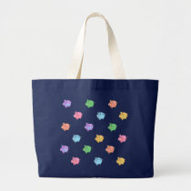Rainbow Pig Pattern on black Large Tote Bag