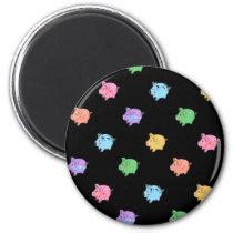 Rainbow Pig Pattern on black Magnet