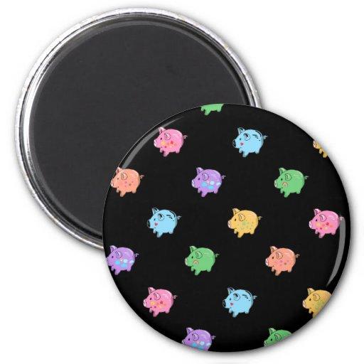 Rainbow Pig Pattern on black Refrigerator Magnets