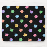 Rainbow Pig Pattern on black Mousepads
