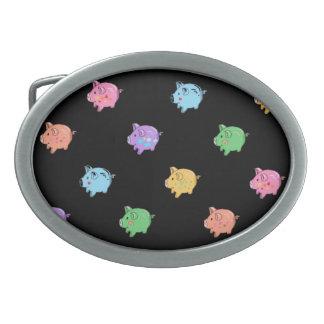 Rainbow Pig Pattern on black Oval Belt Buckle