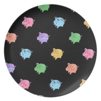 Rainbow Pig Pattern on black Dinner Plates