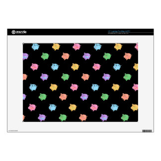 Rainbow Pig Pattern on black Skins For Laptops