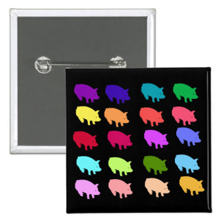 Rainbow Pigs 2 Inch Square Button
