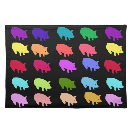 Rainbow Pigs Cloth Placemat