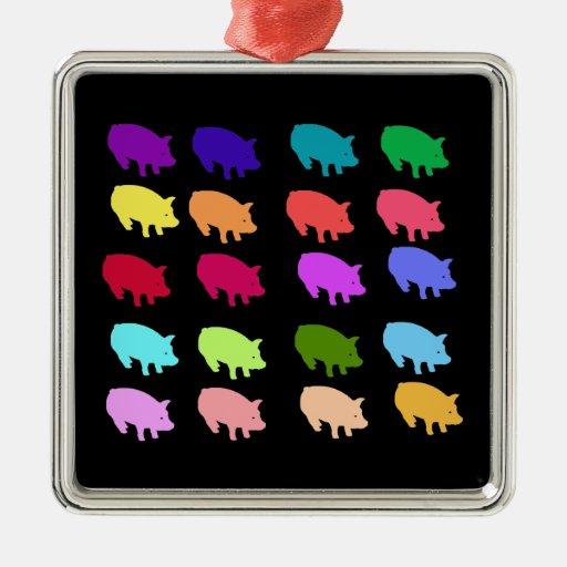 Rainbow Pigs Square Metal Christmas Ornament