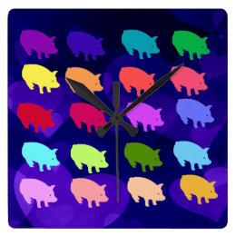 Rainbow Pigs Square Wall Clock