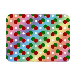 Rainbow ping pong pattern rectangular magnet