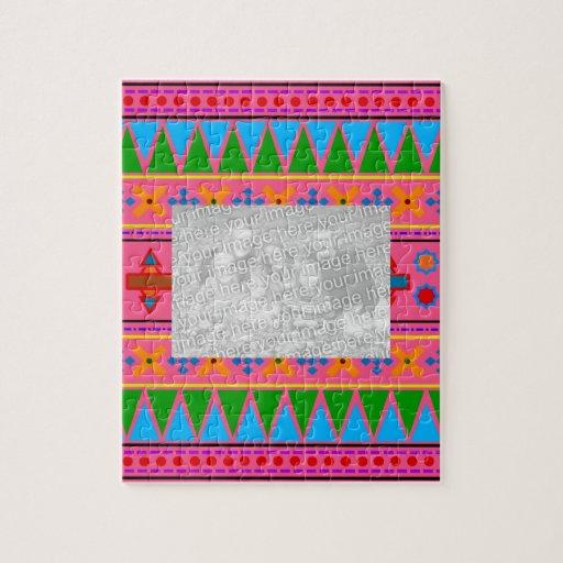 Rainbow pink aztec tribal pattern jigsaw puzzles
