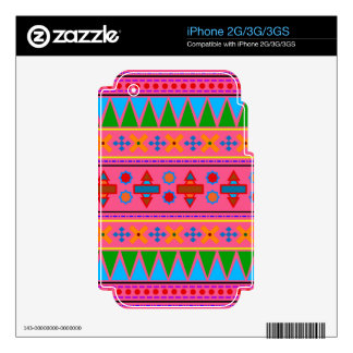 Rainbow pink aztec tribal pattern decals for iPhone 3