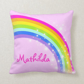 rainbow pink - girls name Mathilda cushion pillow