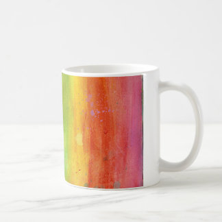 Rainbow pink green blue paint stripe mug