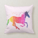 Rainbow Pink Unicorn Throw Pillow