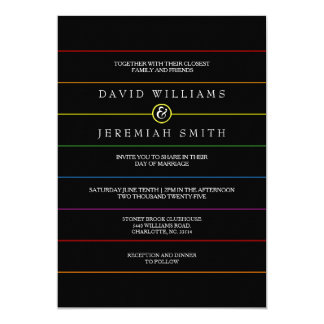 Rainbow Pinstripe Pride on Black LGBT Wedding Card