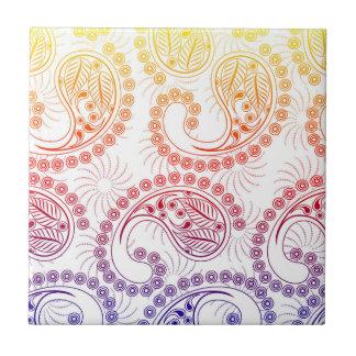 Rainbow Pinwheel Paisley Design Ceramic Tile