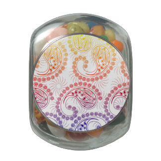 Rainbow Pinwheel Paisley Design Glass Candy Jars