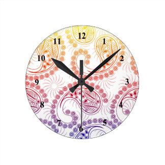 Rainbow Pinwheel Paisley Design Round Clock