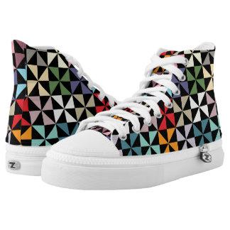 Rainbow Pinwheel Pattern Black High-Top Sneakers