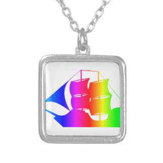 Rainbow Pirate Ship 2 Square Pendant Necklace