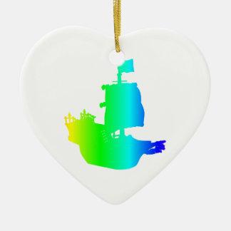 Rainbow Pirate Ship Ceramic Ornament