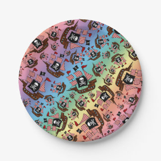 Rainbow pirate ship pattern 7 inch paper plate