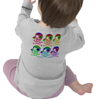 Rainbow Pirate Skulls 2-Sided Infant Longsleeve T-shirts