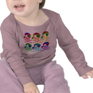 Rainbow Pirate Skulls Infant Longsleeve Tee Shirts