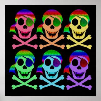 Rainbow Pirate Skulls Poster