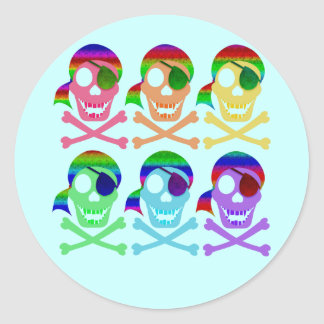 Rainbow Pirate Skulls Stickers
