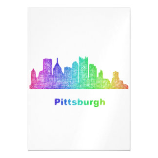 Rainbow Pittsburgh skyline Magnetic Card
