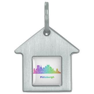 Rainbow Pittsburgh skyline Pet Name Tag