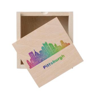 Rainbow Pittsburgh skyline Wooden Keepsake Box
