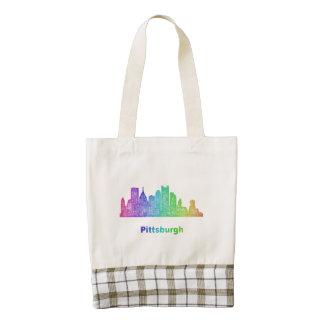 Rainbow Pittsburgh skyline Zazzle HEART Tote Bag