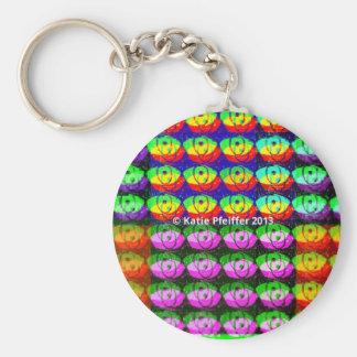Rainbow Pixel Eyes Basic Round Button Keychain