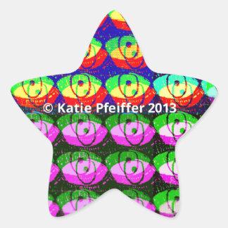 Rainbow Pixel Eyes Star Sticker