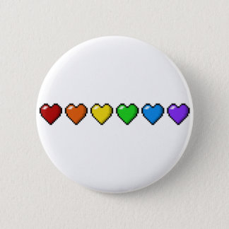 Rainbow Pixel Hearts Pinback Button