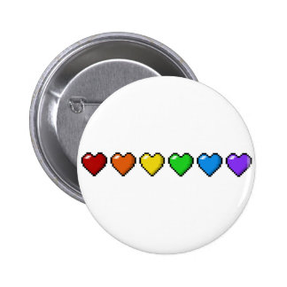 Rainbow Pixel Hearts Pinback Button