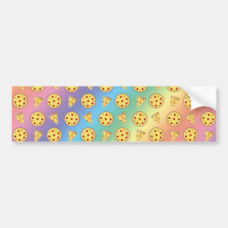 Rainbow pizza pattern bumper sticker