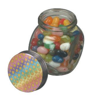 Rainbow pizza pattern glass jar