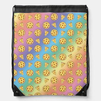 Rainbow pizza pattern drawstring backpack
