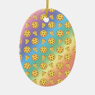 Rainbow pizza pattern christmas ornament