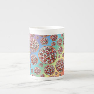 Rainbow pizza pie bone china mugs