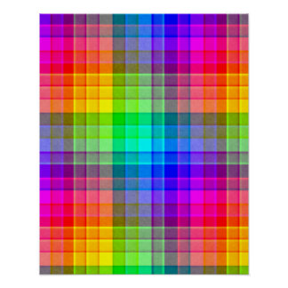Rainbow Plaid Background Custom Poster