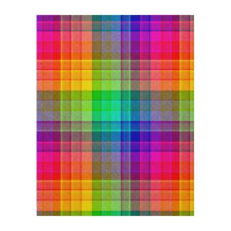 Rainbow Plaid Background Custom Wood Print