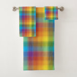 Rainbow Plaid Bath Towel Set