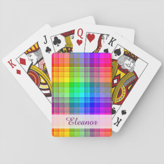 Rainbow Plaid Colorful   Add Your Name Playing Cards